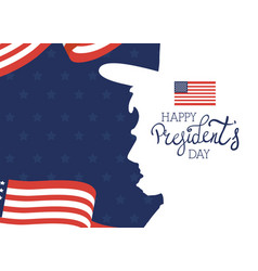 Happy presidents day with lettering and usa flag vector