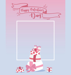 happy valentines day design elements frame vector image