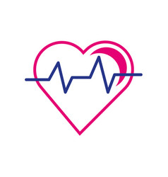 Heart cardio line and fill style icon vector