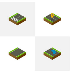 Isometric way set of unilateral footpassenger vector