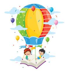 kids flying hot air balloon vector image