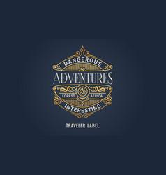label for adventure emblem frame badge template vector image
