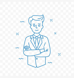 man confident with folded arms doodle icon vector image