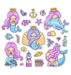 mermaids with long purple hair vector image