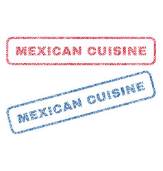 Mexican cuisine textile stamps vector