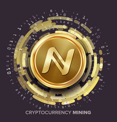 mining namecoin cryptocurrency golden coin vector image