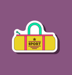 Paper sticker on stylish background sports bag vector