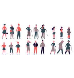 People in seasonal clothes adult elderly vector