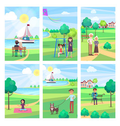 People spending free time in park poster vector