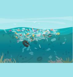 Plastic pollution trash underwater sea vector