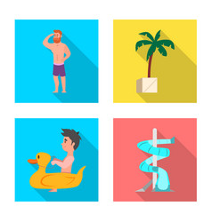 Pool and swimming sign vector