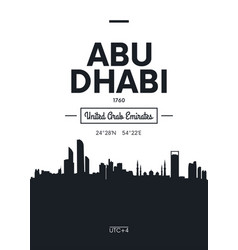 poster city skyline abu dhabi flat style vector image
