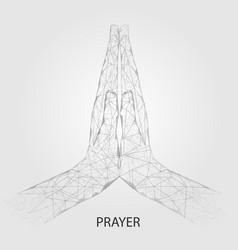 praying hands geometric polygonal art vector image