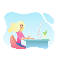 Pretty young blonde woman at the desk is working vector