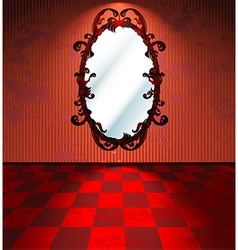 Red room with mirror vector image vector image