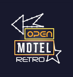Retro motel neon sign vintage bright glowing vector