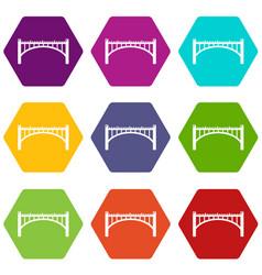 road arch bridge icons set 9 vector image