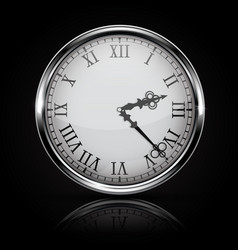 round white clock with roman numerals on black vector image