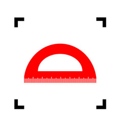 ruler sign red icon inside vector image