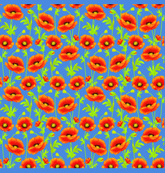 Seamless background with bright poppies tissue or vector