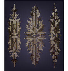 Set astract linear shapes golden art vector