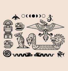 Set mayan or aztec patterns tribal elements vector