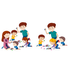 set of family playing with blocks vector image