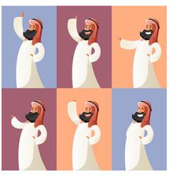 set of muslim cartoon characters4 vector image
