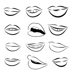 Set of Pop Art Lips on a white background vector image