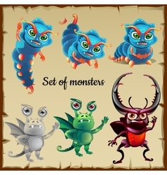 Set of six menacing insects cute monsters vector image