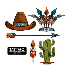 set of tattoo drawings vector image