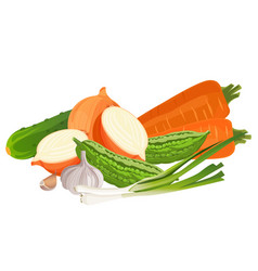 Set of vegetables zucchini two carrots whole and vector