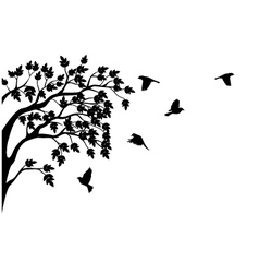 silhouette of tree and bird isolated vector image