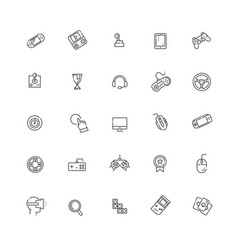 Simple set games related line icons vector