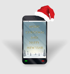smartphone merry christmas happy new year screen vector image