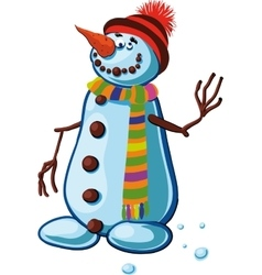 Snowman with silly smile vector