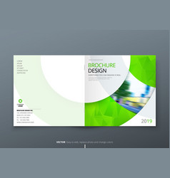 Square brochure design green corporate business vector