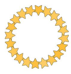 Star in circle shape starry border frame vector