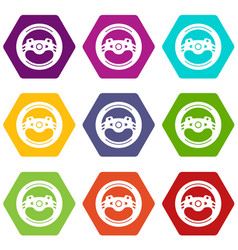 Steering wheel icons set 9 vector