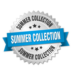 Summer collection 3d silver badge with blue ribbon vector