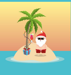 Summer holiday vacation with santa claus vector