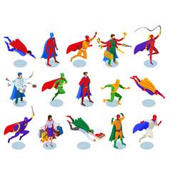 super heroes isometric people vector image