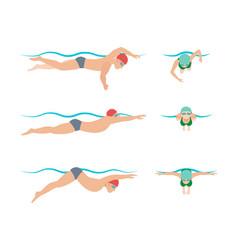 swimming style scheme vector image