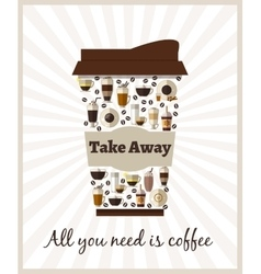 Take-out or takeaway coffee poster vector