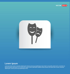 theatrical masks icon - blue sticker button vector image