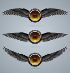Three two-winged music speakers vector