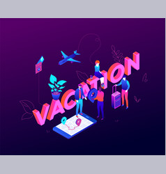 vacation and travel - modern colorful isometric vector image