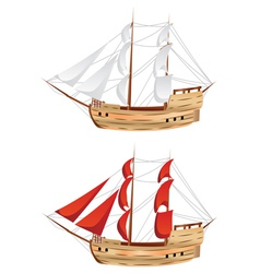 Vintage sailing ship vector