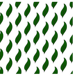 vintage seamless leaves pattern hand drawn green vector image