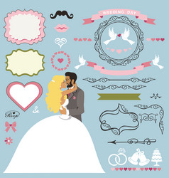 wedding invitation decor elements set with kissing vector image